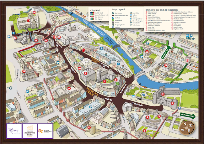 Medieval Mile Map showing all the things to see and do in kilkenny
